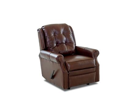 """Klaussner Sand Key Collection LV57603HRRC 32"""" Leather Reclining Rocking Chair with Easy Pull Handle, Petite Rolled Arms and Welted Panel Cushion in"""