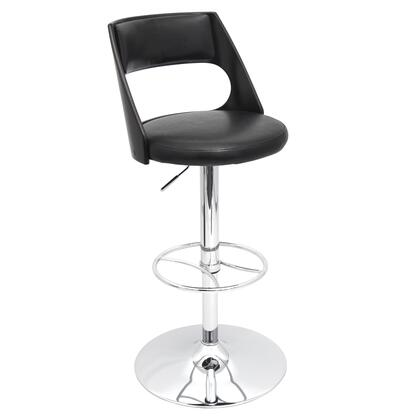 "LumiSource Presta BS-JY-PRS 33"" - 43"" Barstool with 360 Degree Swivel, Chrome Base and PU Leather Upholstery in"