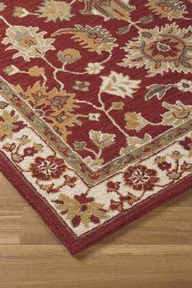 "Milo Italia Jaelynn RG443433TM "" x "" Size Rug with Botanical Design, Hand-Tufted, 5-6mm Pile Height, Wool Material and Backed with Cotton Latex in Red Color"