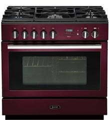AGA APRO36DFCRN PRO Plus Series Dual Fuel Freestanding Range with Sealed Burner Cooktop, 4.9 cu. ft. Primary Oven Capacity, Storage in Red