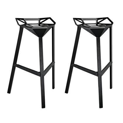 Modway EEI-1362 Launch Stacking Bar Stool Set of 2 with Sleek Modern Design, Indoor/Outdoor Use, Easy Wipe Clean Surface, Stackable and Coated Aluminum Frame