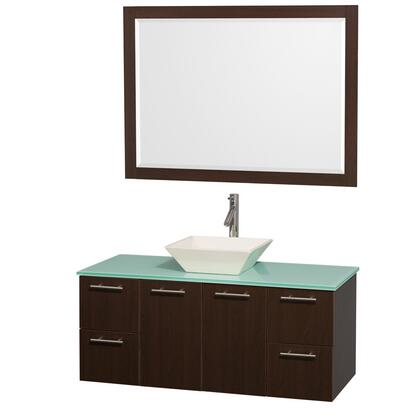 """Wyndham Collection WCR410048 Amare 48"""" Wall-mounted Vanity with x Counter Top, X Vessel Sinks, Two Doors, Four Drawers and a Matching Mirror in x"""