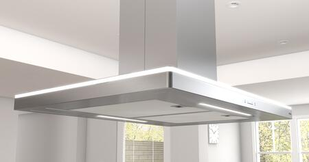 Zephyr ZLCxxBS Essentials Europa Series Luce Island Mount Range Hood with 600 CFM, BriteStrip LED Lighting, Icon Touch Controls, ACT Technology, Versatile Recirculating Option and Quick Lock Installation, in Stainless Steel
