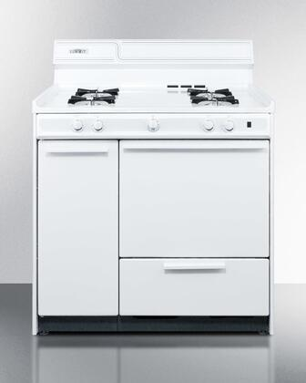 """Summit WNM4307 36""""  White Gas Freestanding Range with Open Burner Cooktop, 2.46 cu. ft. Primary Oven Capacity, Broiler"""