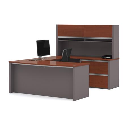 "Bestar Furniture Connexion Collection 93863- 71"" U-shaped Workstation with Two Oversized Drawers, Two Flip Up Doors and Keyboard Tray in"