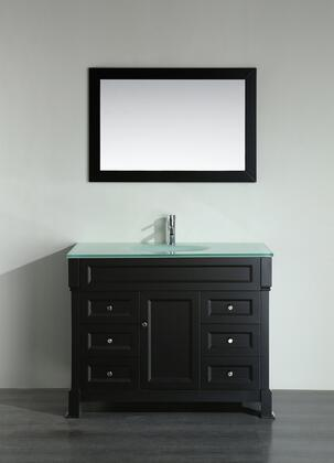 """Bosconi Bosconi 43"""" SB-278B Single Vanity with 1 Door, 6 Drawers, 1 Sink Included, Wall Mounted Mirror, Antique Bronze Hardware and Birch Solid Wood Frame in Black Color"""