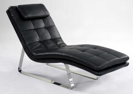 Chintaly CORVETTELNGBLK Corvette Series Contemporary Leather Chaise Lounge