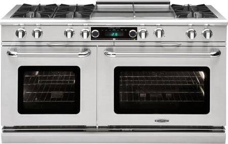 "Capital Culinarian Series COB604GG2-X 60"" Freestanding Dual Fuel Electric Range with 8 Open Burners, Primary 4.6 Cu. Ft. Oven Cavity, Secondary 3.1 Cu. Ft. Oven Cavity, and Moto-Rotis, in Stainless Steel"
