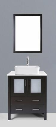 "Bosconi AB130RCXX 30"" Single Espresso Vanity with White Ceramic Top, an Over the Counter Rectangular Sink, 2 doors and x Drawers"