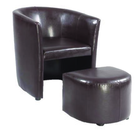 Chair and Ottoman Set View (Brown)