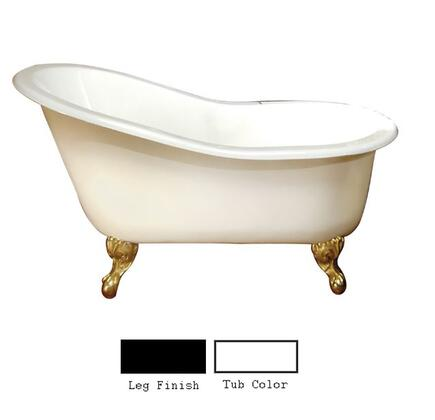 "Barclay CTS7HL61 61"" Hadrian Cast Iron Slipper Tub with Overflow and 7"" Left Side Rim Holes with Feet Finished in:"