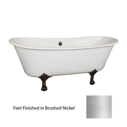 "Barclay CDRN68LP Everly 68"" Cast Iron Double Roll Tub, with No Holes, 45 Gallon Capacity, 13"" Tub Depth, and Elegant Lion Paw Feet in:"
