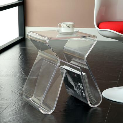"""Modway EEI-561 17"""" Magazine Stool with Modern Design, Easy to Clean Surface, 3/8"""" Thick Acrylic, and Weather Resistance"""