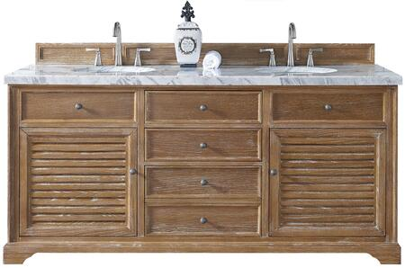 "James Martin Savannah Collection 238-104-5711- 72"" Driftwood Double Vanity with Two Soft Closing Doors, Two Soft Closing Drawers, Antique Pewter Hardware and"