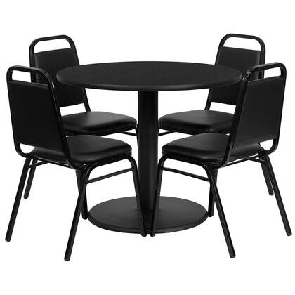 """Flash Furniture RSRB10XX-GG 36"""" Round Laminate Table Set with 4 Black Trapezoidal Back Banquet Chairs, Commercial Design, and Heavy Duty Construction"""