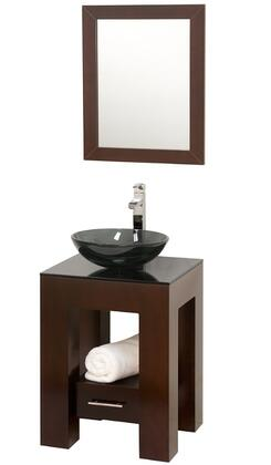 Wyndham Collection WCSMS005ES WCSMS005ES Single Vanity Set with Single-Hole Faucet Mount, Drawer, Fully extending Drawer Slides, Metal Hardware & Matching Mirror in Espresso Finish