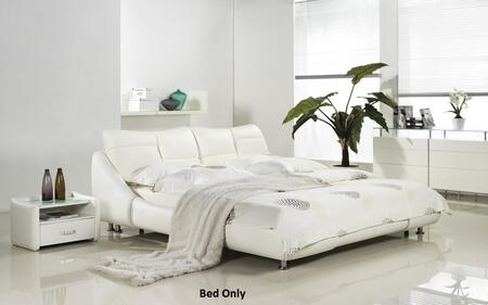 Casabianca Mirage Collection Platform Bed with Polished Metal Legs, Low Profile, Medium-Density Fiberboard (MDF) Materials, Leather and Eco-Leather Upholstery in White Color