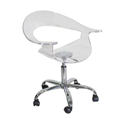 "LumiSource Rumor CHR-TW-RUMOR 28"" - 33"" Office Chair with 360-Degree Swivel, Acrylic Seat and Chrome Base in"