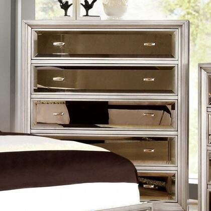 "Furniture of America Golva Collection 35"" Chest with 5 Full Extension Drawers, Gold-Tinted Mirror Panels, Solid Wood and Wood Veneers Construction"
