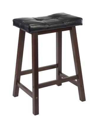 Winsome 9406X Mona Cushion Saddle Seat Stool, Black Faux Leather, Wood Legs, RTA