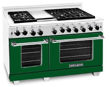 "American Range ARR486GDFG 48"" Heritage Classic Series Gas Freestanding Range with Sealed Burner Cooktop, 4.8 cu. ft. Primary Oven Capacity, in Green"