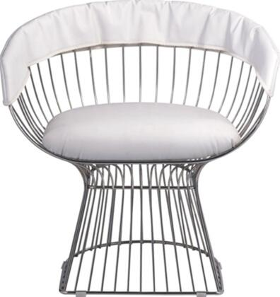 Fine Mod Imports FMI9229WHITE Libo Series Decorative Vinyl Steel Wire Frame Accent Chair