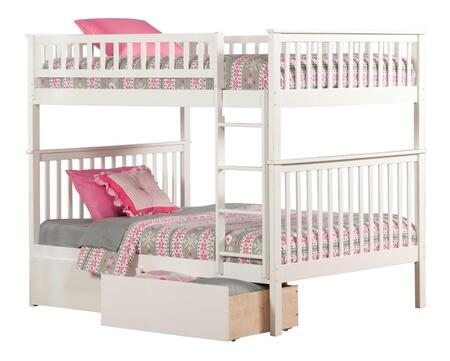 Atlantic Furniture AB5654 Woodland Bunk Bed Full Over Full With Urban Bed Drawers