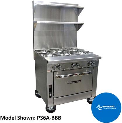 "Southbend P36D Platinum Series 36"" Sectional Open-Top Range with Standard Oven Base and Six Non-Clogging Burners, Up to 210000 BTUs"