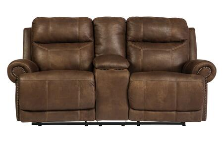 Signature Design by Ashley Austere 3840XLS Double Reclining Loveseat with Storage Console, Cup Holders, Plush Rolled Arms and Thick Divided Back Cushions in
