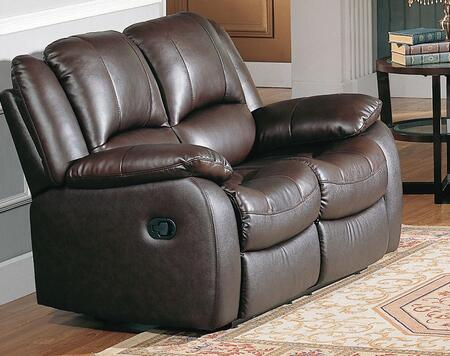 Yuan Tai CL8813LBR Clermont Series Leather Loveseat with Wood Frame Loveseat