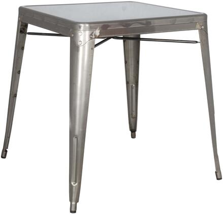 Chintaly 8029-DT Stackable Indoor and Outdoor Galvanized Steel Dining Table in