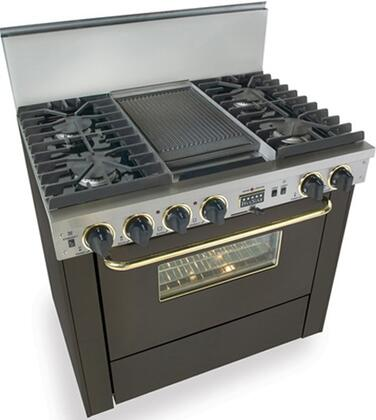 """FiveStar TTN3377SW 36""""  Black with Brass Dual Fuel Freestanding Range with Sealed Burner Cooktop, 3.69 cu. ft. Primary Oven Capacity,"""
