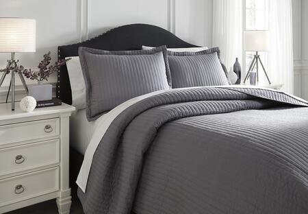 Signature Design by Ashley Raleda Q498003 3 PC Size Coverlet Set includes 1 Coverlet and 2 Shams with Solid Pattern and Polyester Material in Grey Color