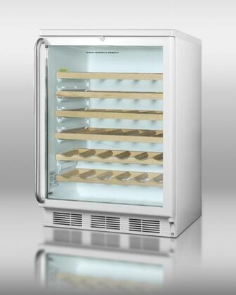 "Summit SWC6GWLSHWO 23.63"" Freestanding Wine Cooler, in White"