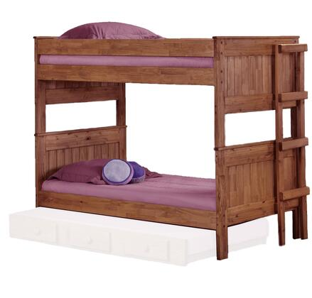 Chelsea Home Furniture 312003-450-X Twin Over Twin Stackable Bunk Bed, with Rustic Style, Slats, and All Pine Wood Construction in Mahogany Stain