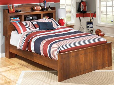 Signature Design by Ashley B228BKCSEHDBDBED Barchan Collection x Size Bookcase Headboard Panel Bed with Timber Cherry Grain in Warm Brown