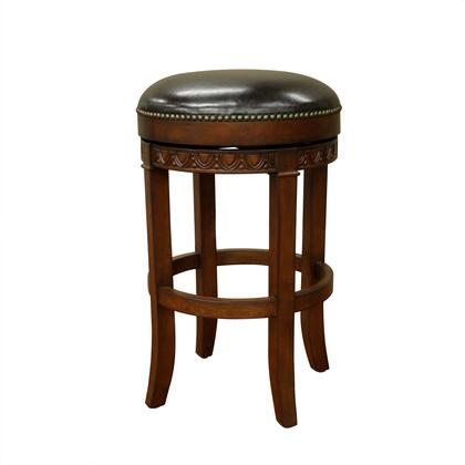 American Heritage Portofino Series 1XX943SD Traditional Stool with Full Bearing Swivel, Web Seating, Adjustable Leg Levelers, and Ships Fully Assembled Finished in Suede with Merlot Leather