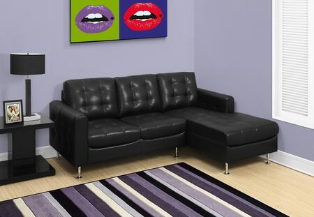 "Monarch I 8380XX 86"" Sofa Lounger with Coiled Cushion Seats, Contemporary Design and Bonded Leather"
