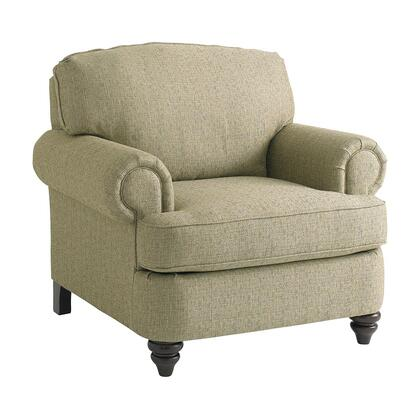 """Bassett Furniture Barclay Collection 3999-12FC/FC120-x 42"""" Chair with Fabric Upholstery, Rolled Arms, Turned Bun Feet, Piped Stitching and Traditional Style in"""