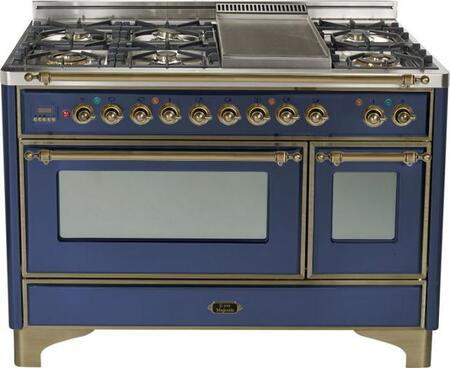 Ilve UM120FMPBLY Majestic Series Dual Fuel Freestanding Range with Sealed Burner Cooktop, 2.8 cu. ft. Primary Oven Capacity, Warming in Blue