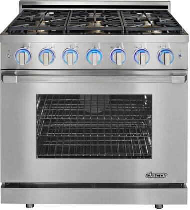 """Dacor RNRP36GSLP 36"""" Renaissance Series Gas Freestanding Range with Sealed Burner Cooktop, 5.2 cu.ft. Primary Oven Capacity, in Stainless Steel"""