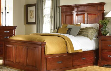 AAmerica KALRM Kalispell Mantel Bed with Storage Constructed in Solid Plantation Mahogany with Bolt on Bed Rails and Metal Ball Bearing Glides in Rustic Mahogany Finish