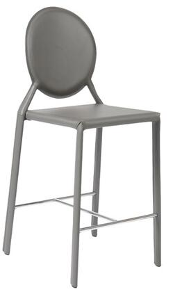 Euro Style 02481GRY Isabella Series Leather Upholstered Bar Stool