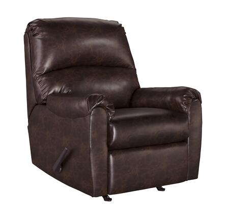 """Signature Design by Ashley Talco Collection 6550X-25 35"""" Rocker Recliner with Pillow Top Arms, Stitching Detail and Faux Leather Upholstery in"""