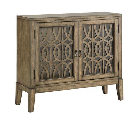 """Coast to Coast 7070X 40"""" Cabinet with Two Glass Doors, Geometric Lattice Design and Tapered Legs in"""