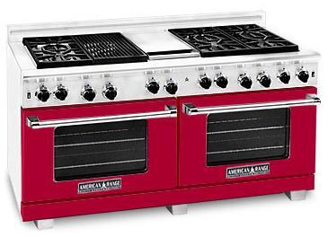"American Range ARR6062GRBR 60"" Heritage Classic Series Gas Freestanding Range with Sealed Burner Cooktop, 4.8 cu. ft. Primary Oven Capacity, in Red"