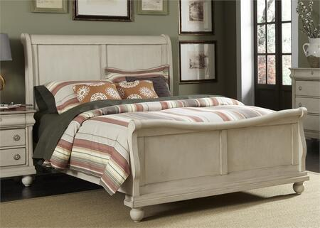 Liberty Furniture Rustic Traditions II Collection 689-BR-XSL Sleigh Bed with Bun Feet, Classic Louis Philippe Styling and Center Supported Slat System in Rustic White Finish