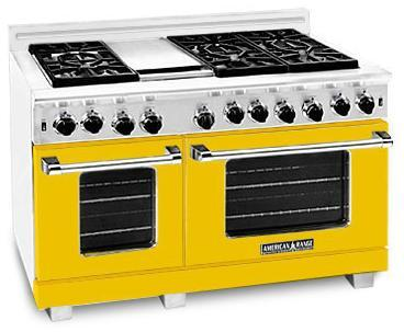 "American Range ARR4842GRYW 48"" Heritage Classic Series Gas Freestanding Range with Sealed Burner Cooktop, 4.8 cu. ft. Primary Oven Capacity, in Yellow"