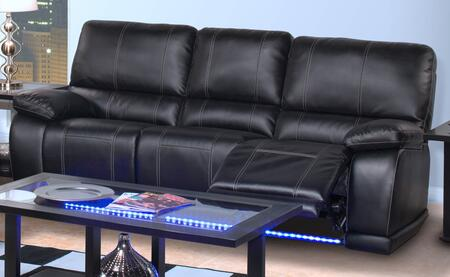 """New Classic Home Furnishings 23823MBK Electra 90"""" Dual Recliner Sofa with Bonded Leather Match, Illuminated Base, Cup Holders, """"No Sag"""" Deck Support, Memory Foam Topper and Polyester Fiber Fill Backs, in"""