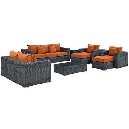 Modway Summon Collection EEI-1895-GRY- 9-Piece Outdoor Patio Sunbrella Sectional Set with Loveseat, Rectangle Ottoman, Sofa, 2 Armchairs, 2 Ottomans and 2 Side Tables in